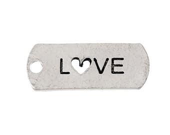 """10pcs. Antique Silver """"Love"""" Rectangle Charms Pendants - 21mm X 8mm"""