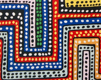 Blue Red Color Dubaku Dots fabric per yard by Alexander Henry/ Tribal Print African Inspired Fabric for Making Clothing, Decorate