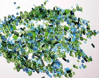 Glass Seed Bead Mix Blue and Green Various Sizes - 20 grams