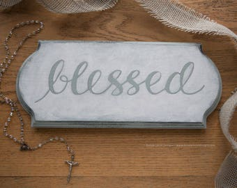 First Communion Gift Idea for Boy or Girl, Baptism Gift, Christening Gift Idea, Wood Blessed Sign Handmade, Blessed Sign, Baptism Gift Ideas