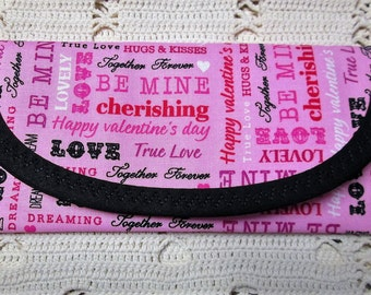 Happy Valentine Love Words Fabric, Wallet Money clip Bags & Purse 7 x 3 Be Mine, True Love, Together Forever, Envelope Clutch, Women Girls