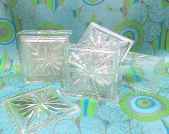 Atomic Acrylic Coaster Set Vintage Mid-century 2 sets of 4