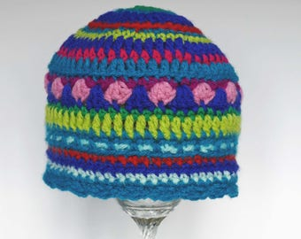 Baby mandala hat,  to fit head circumference 16-17 inches (average 3-6 month size) - ready to ship.
