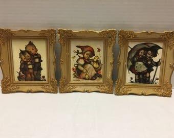 "Vintage Three Hummel Gold Ornate Framed Wall Pictures 6"" by 7' Gold Gilt Frames"