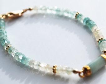 Shaded Blue Aquamarine Bracelet with Chalcedony faceted tube, 14kt Gold Filled Bracelet