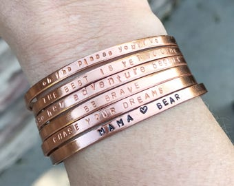Rose Gold Tiny Hand Stamped Cuff Bracelets