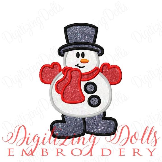 Snowman Applique 2 Machine Embroidery Design 5x5 6x6 5x7 8x8 6x10 Christmas Winter Snow Man INSTANT DOWNLOAD