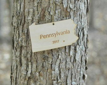 Natural Wood Pennsylvania State Ornament WITH 2017