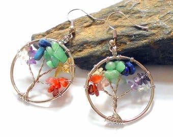 Seven Chakras Tree of Life Earrings earthegy Chakra Jewelry #1530