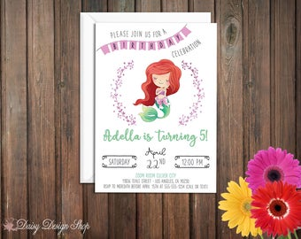 Birthday Party Invitations - Princess Ariel and Laurel in Watercolor Style - Little Mermaid - Set of 20 with Envelopes
