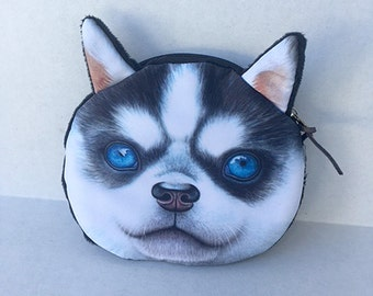 Husky Puppy Dog coin purse with hypnotic eyes