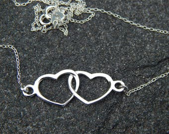 Sterling Silver Double Heart Necklace!!!!