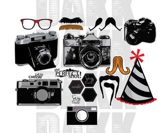 Photo Booth Kit PNG and SVG File Features Camera, Hat, Glasses, Mustache and Text Bubbles