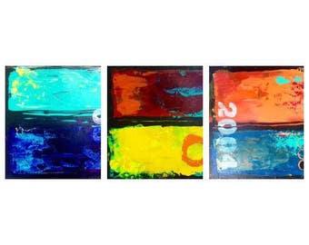 "Custom Abstract acrylic Trio 12x12"""