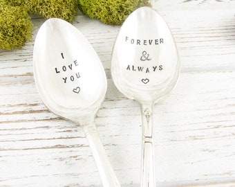 Stamped Spoon Set. I Love You. Forever and Always. Coffee Spoons. Ice Cream Spoons. Hand Stamped Silverware for Gift Giving Idea. 605SP