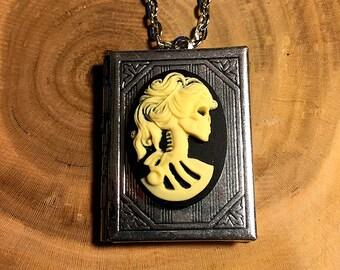 Lady Lolita Cameo Book Locket Necklace