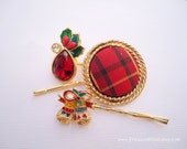 Vintage earrings hair slides - Christmas holidays red gold green plaid bells holly unique fun jeweled embellish decorative hair accessories