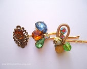 Vintage earrings hair bobbies - Colorful amber green blue yellow fancy gem bauble jeweled unique gold decorative embellish hair accessories