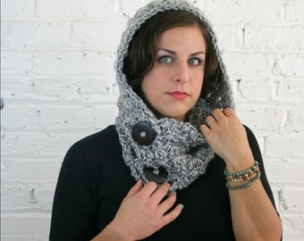 Hooded Cowl - Scoodie -  Hooded Cowl with Wooden Buttons - Gravel