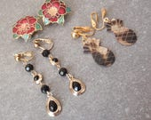Vintage Earrings Three Pairs Clip On Cloisonne Shell Pineapple Dangle 101614GL