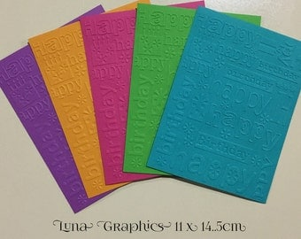 EMBOSSED CARDSTOCK 41/4 x 51/2 inches 5 pack Happy Birthday 2