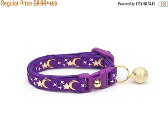 ON SALE Moon Cat Collar - Gold Moons and Stars on Purple - Breakaway Cat Collar - Kitten or Large size