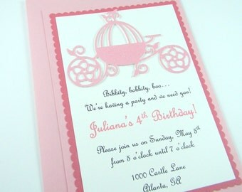 Princess Carriage Birthday Party Invitation ~ Pink
