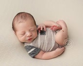 newborn short sleeve romper (Owen) - photography prop - grey, tan, cream, charcoal, onesie, baby boy