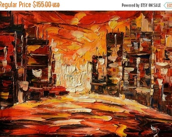 70%OFF Painting ORIGINAL Oil Painting Palette Knife Impasto Textured Cityscape Buildings Colorful ready to hang wall decor Red ART by Marche