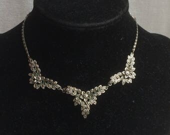 Lovely Vintage 1950s Marcasite Flower + Leaf Necklace