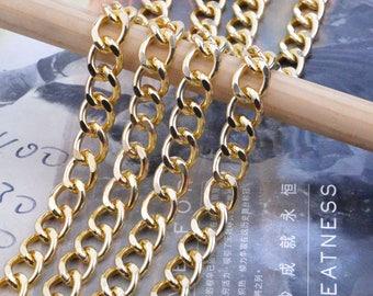 2m chain, gold Metal chain, Aluminum chain, gold chain, Jewelry chain links, aluminum curb chain chunky, curb chain, gold necklace chain