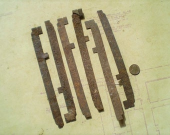 6 Rusty Metal Strips - Salvaged Supplies - Found Objects for Assemblage, Sculpture or Altered Art