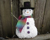 Happy Snowman Ornament, Tuck, Prim Cute Smiling Snowman Decor, Vintage chenille, buttons, Christmas decor, Unique gift, collector, rainbow