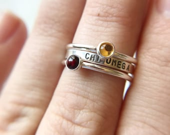 Chi Omega Ring / Chi Omega Cardinal and Straw Gemstone Ring / Stacking Rings for Sorority / Sorority Colors / Greek Licensed / Sorority Gift
