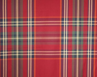 Dark Red and Olive Green Very Large Woven Plaid Pure Cotton Shirting Fabric--By the Yard