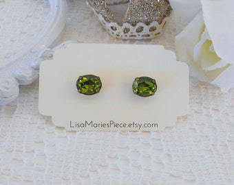 Crystal Stud Earrings, Olivine Studs, Swarovski Rhinestones, Olive Green Crystal Studs, Green Stud Earrings, Hypoallergenic, Oval Studs