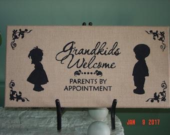 Grandkids Welcome Burlap Wall Hanging