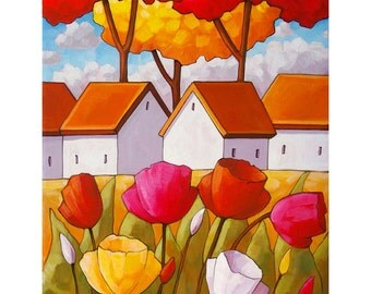 "Floral Giclee Art Print by Cathy Horvath 5""x7"" Easter Tulip Flower Colors, White Cottages, Folk Art Spring Blooms Landscape Archival Artwork"