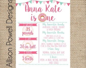 Donut Birthday Party Stats Poster, Any Age Birthday Poster, Personalized 11x14