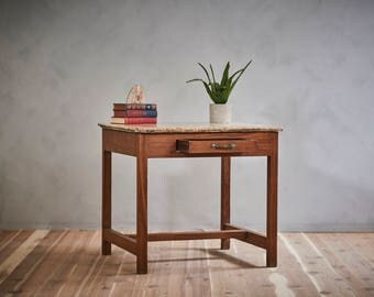 Vintage Small Industrial Desk Distressed Alabaster Table Top Large Side Table Loft Furniture