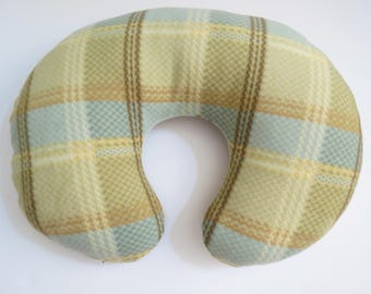 Soothing Tan and Teal Plaid fleece Boppy or nursing pillow cover