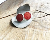 Hand painted Resin Stud Earrings in Silver