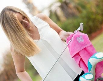 Personalized Monogrammed Hot Pink Golf Tennis Towel--Free Monogramming--