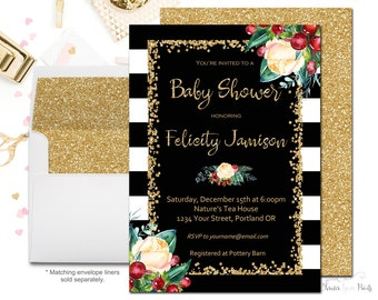 Winter Baby Shower Invitations, Girl Baby Shower Invitations, Baby Shower Invites, Baby Shower Invitations For Girls, Christmas Baby Shower