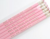 Inspirational Pencil Set / Set of 6 Quote Pencils / Pink and Gold Personalized Pencil Set with Gilmore Girls Quote