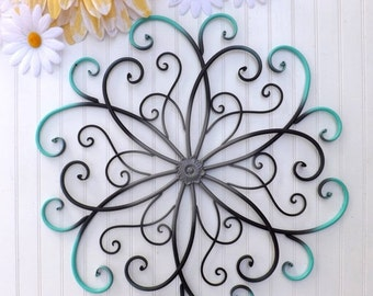 MEGA SALE GRAY // Teal // Black // Large Metal Wall Art // Bedroom Wall Decor //Flower Wall Art