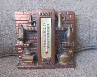 1975 Miller Chalkware Bless This House Country Kitchen Thermometer Plaque