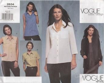 Blouse Pattern Shirt Top Button Sleeveless Misses Size 6 - 8 - 10 Uncut Vogue 2634 Basic Design