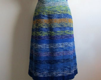 Vintage 70s Boucle Wrap Skirt Blue Textured Wool Blend Pau Terroir 70s Hand Loomed Midi Skirt Small Petite Jupe