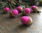 Needle felted wool acorns, set of 6, Happy Raspberry, hot pink felt acorns, pink easter gift, woodland birthday party favor, pink acorns